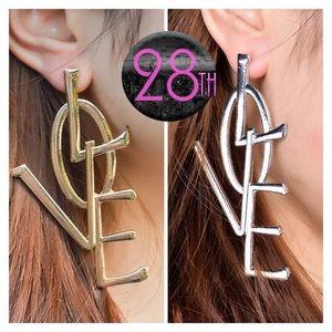 Jewelry - Women's Fashion Silver Gold Drop Love Earrings